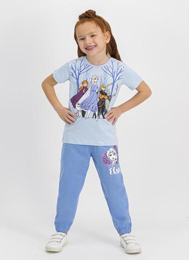 Frozen  Lisanslı Bebe Mavi Kız Çocuk Pijama Takımı Krem
